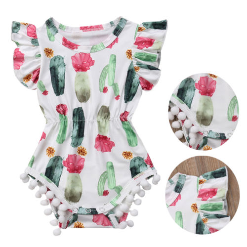 2018 Newborn Kids Baby Girls Cactus Romper  Babygrows Floral Clothes Outfits Hot