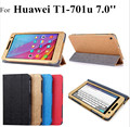 Flip Type Pad Tablet Protection Cover And Holder For HUAWEI T1-701u, 7in Ultra Thin Fashion Folding Three Folds Pad Case