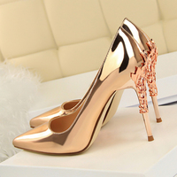 2019 New Silver Gold Sexy High Heels Women Shoes Metal Leaves 10cm Stiletto Heel Women Pumps Sapato Feminino Zapatos Mujer Tacon