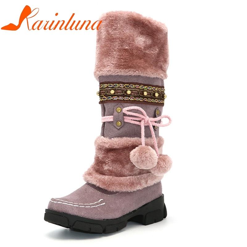 KarinLuna Fashion Bohemia Beading Snow Boots Plush Fur Inside Warm Winter Shoes Woman Platform Knee High Boots Plus Size35-43 цены онлайн