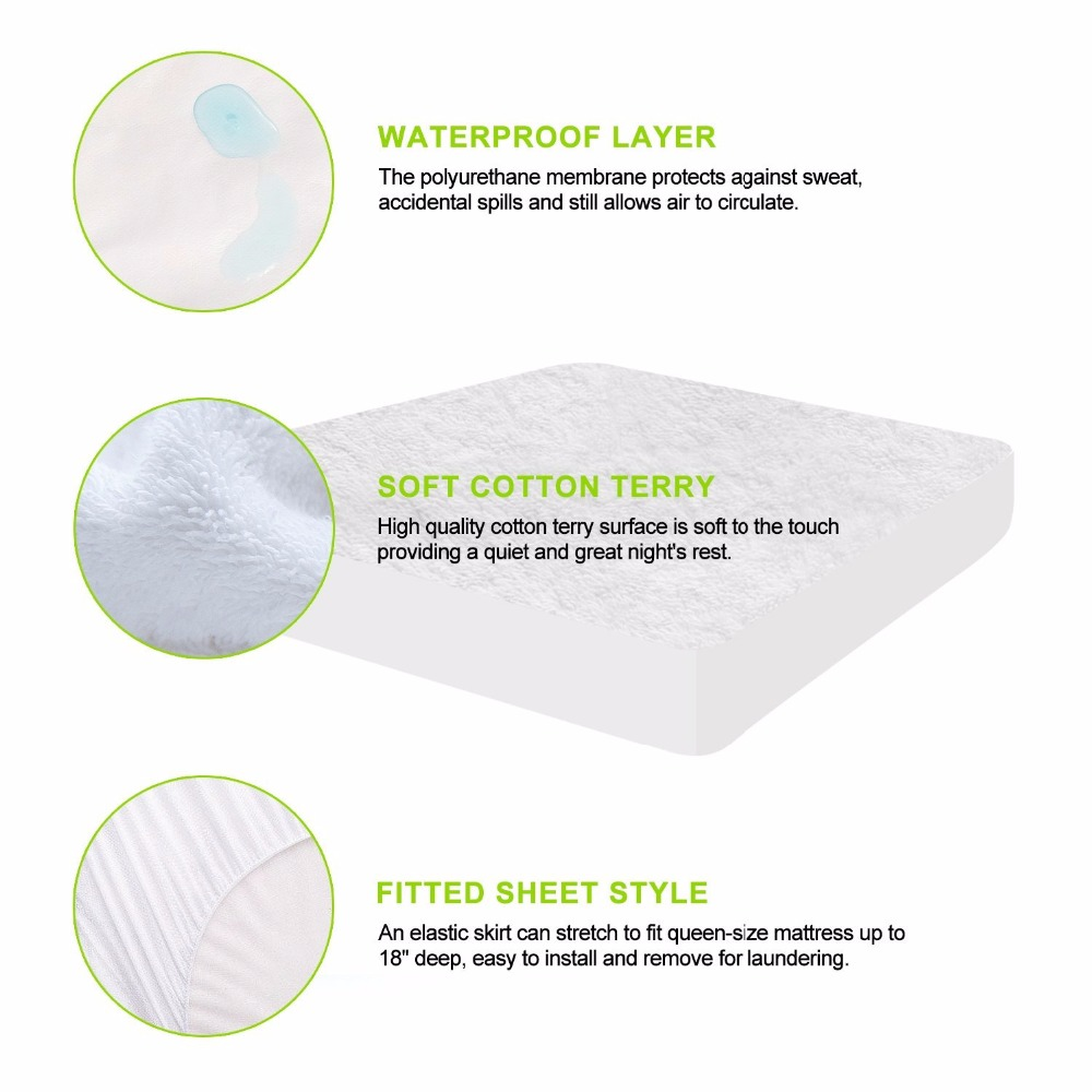 For Russian Premium Terry Waterproof Mattress Protector Fitted Sheet Colcha Mattress <font><b>Covers</b></font> Machine Washable <font><b>Bed</b></font> Bug Proof