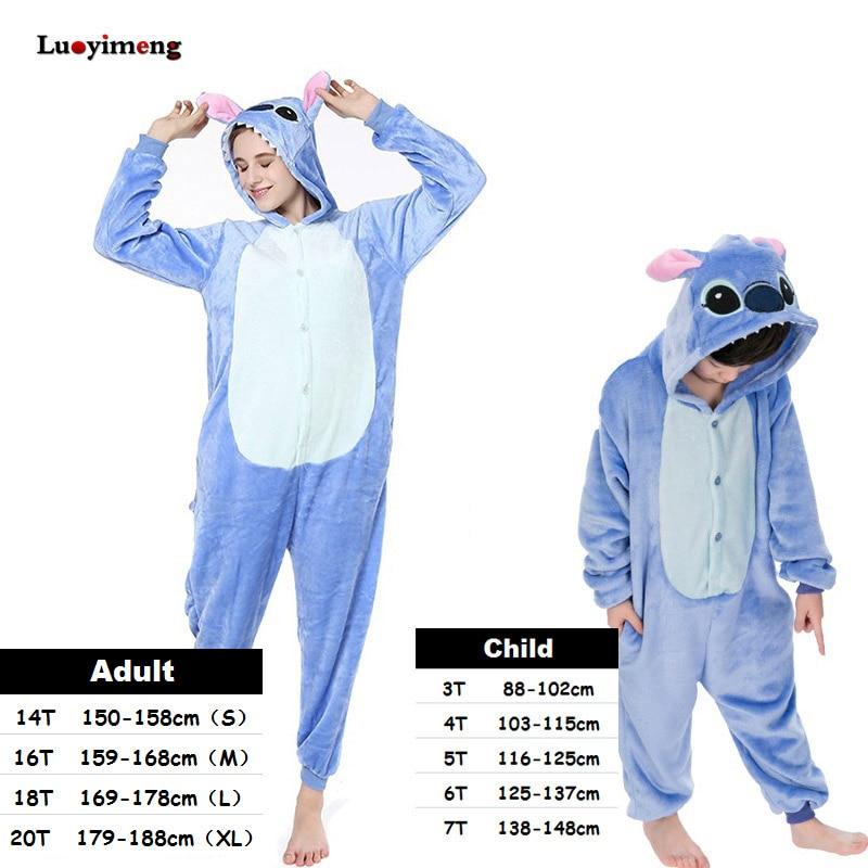 New Stitch Onesies Adult Pajamas Unisex Blue Pink Stich Cosplay Party Wear Anime Pijama Boys Girls Pyjamas Kids Women Sleepwear