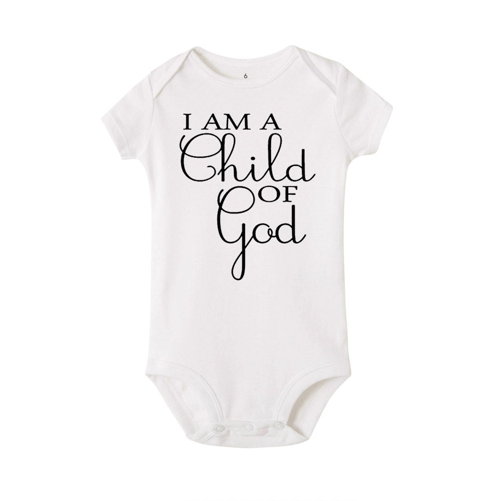 I Am A Child Of God Letter Print Newborn Infant Baby Girl Boy Short Sleeve Romper Cotton Jumpsuit Playsuit Outfits Clothes