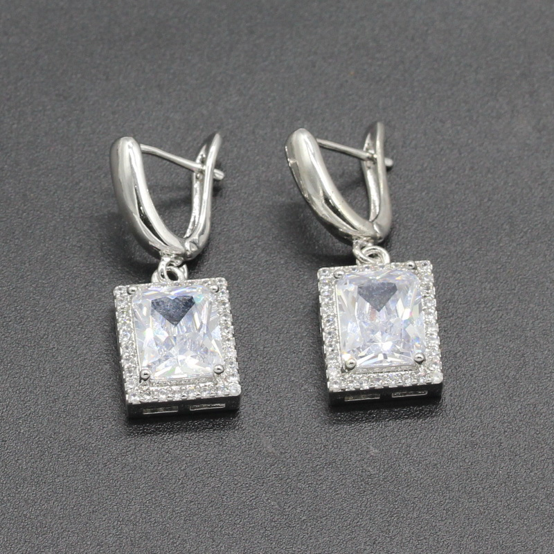 Square White 5 Colors 925 Sterling Silver Dangle Earrings For Women Fashion Jewelry