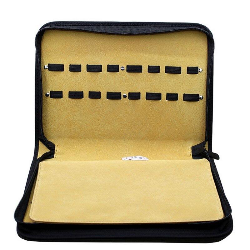 16 pcs card slot Professional Salon scissor bags Clips Case top Leather Hairdressing Bag Barber Tools