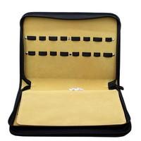 16/pcs card slot Professional Salon scissor bags Clips Case top Leather Hairdressing Bag Barber Tools Storage case