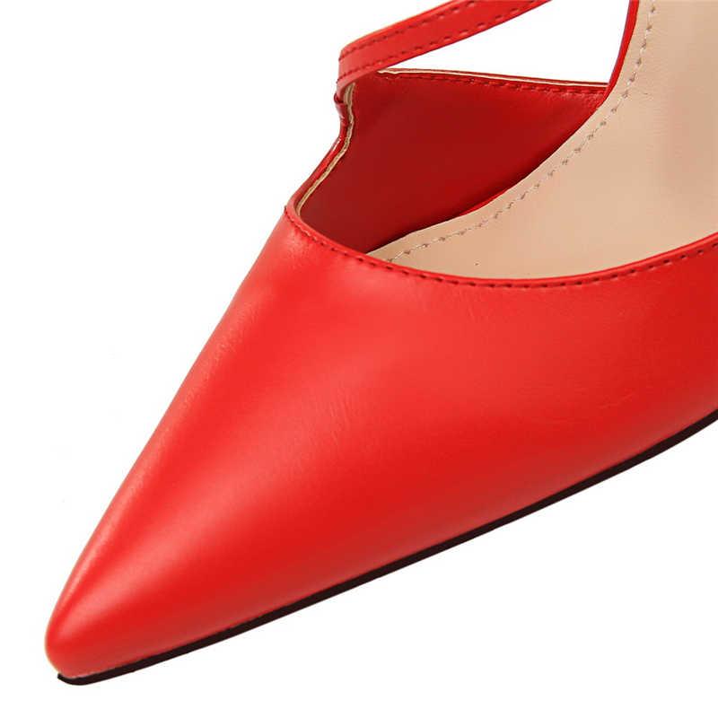 2019 Yeni Yaz Lüks Kadın Fetiş Sarı Yüksek Topuklu Kadın Klasik Kayış Mavi Sandalet Pembe Pompalar Bayan Seksi Scarpins kırmızı ayakkabılar