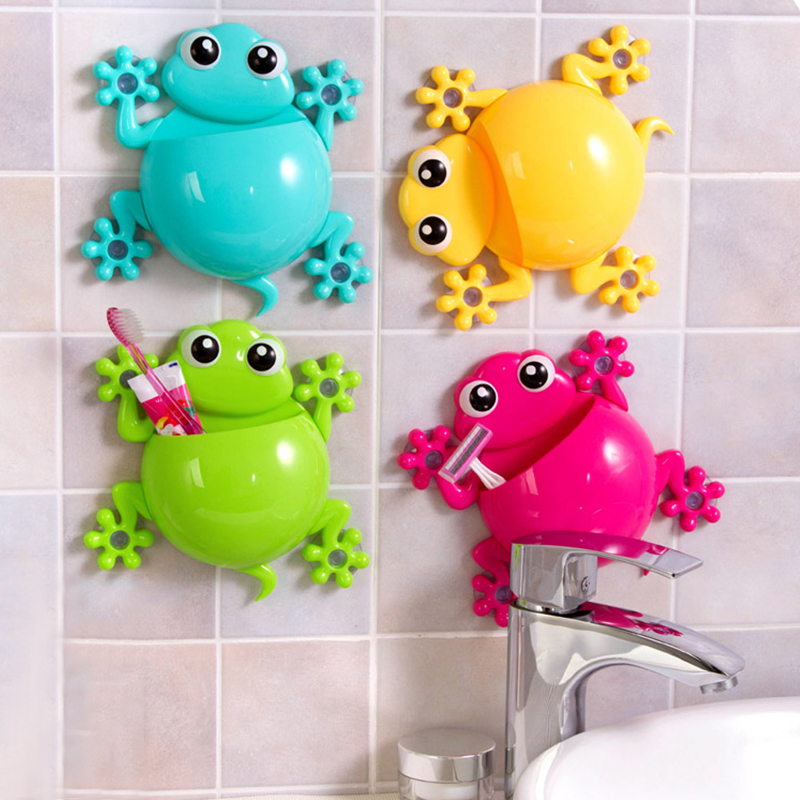 Cartoon Animal Gecko Toothbrush Holder Rack Sucker Toothbrush Toothpaste Holder Organizer for Kids Bathroom Accessories image