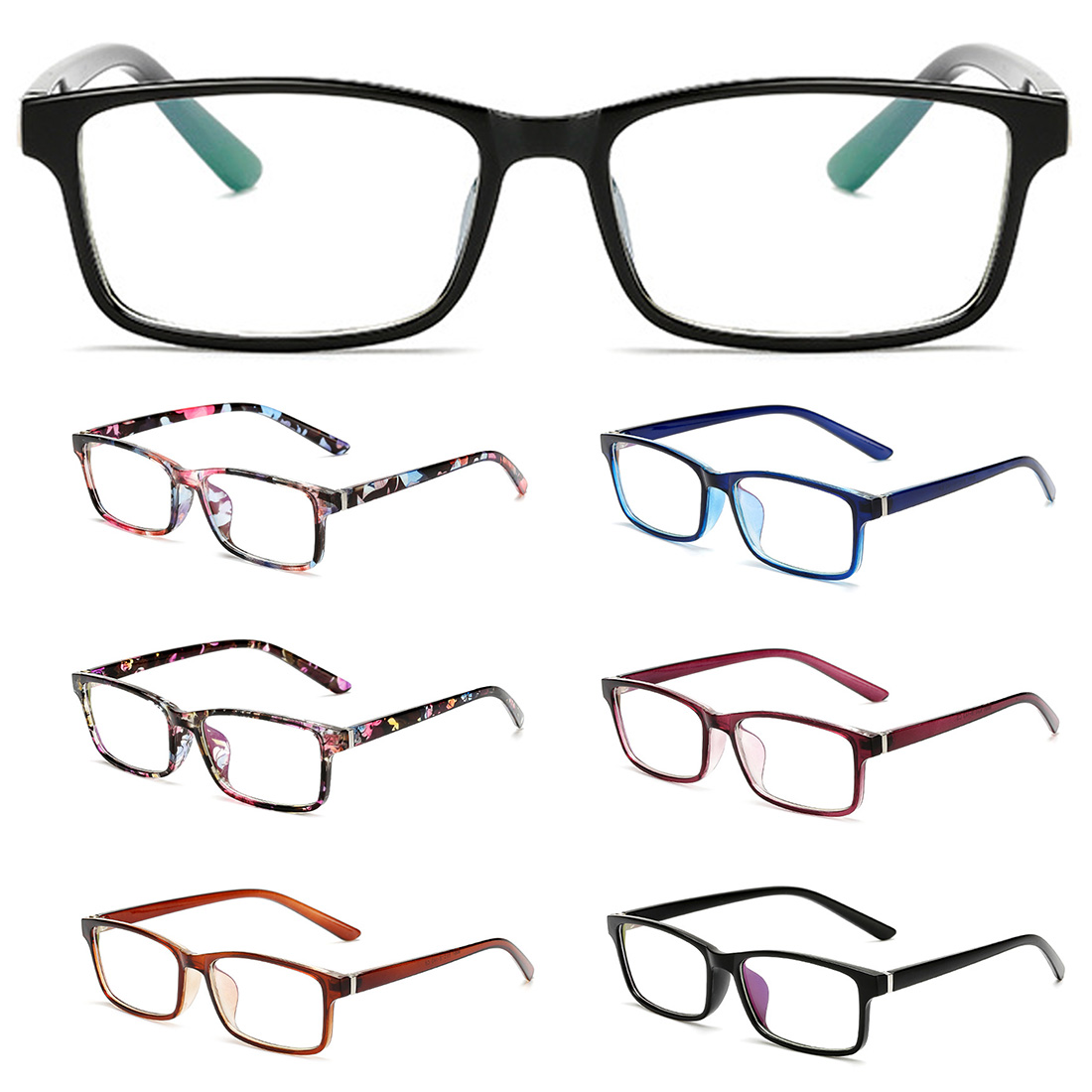 Vintage Floral Eye Glasses Frames For Women Flower Transparent Fake Gasses Square Optical Eyeglasses Nerd Eyewear Spectacle