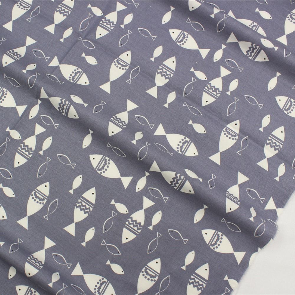 16608-37F1,<font><b>50</b></font> cm * <font><b>150</b></font> cm fish cartoon series cotton fabric, hand pieced cotton textile, free shipping. image