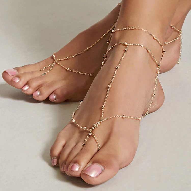 Women Fashion Mini Metal Ball Chain Anklet Bohemian Summer Beach Beads Barefoot Anklets Jewelry