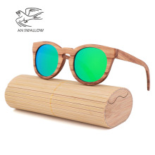 Womens Bamboo Sunglasses Polarized Zebra Wood Glasses Handmade Vintage Wooden Frame Mens Driving Sunglasses Cool Polarization