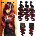 Malaysian Virgin Hair with Closure 3 Bundles Burgundy Malaysian Hair Bundles with Lace Closures 1b 99j Ombre Hair With Closure