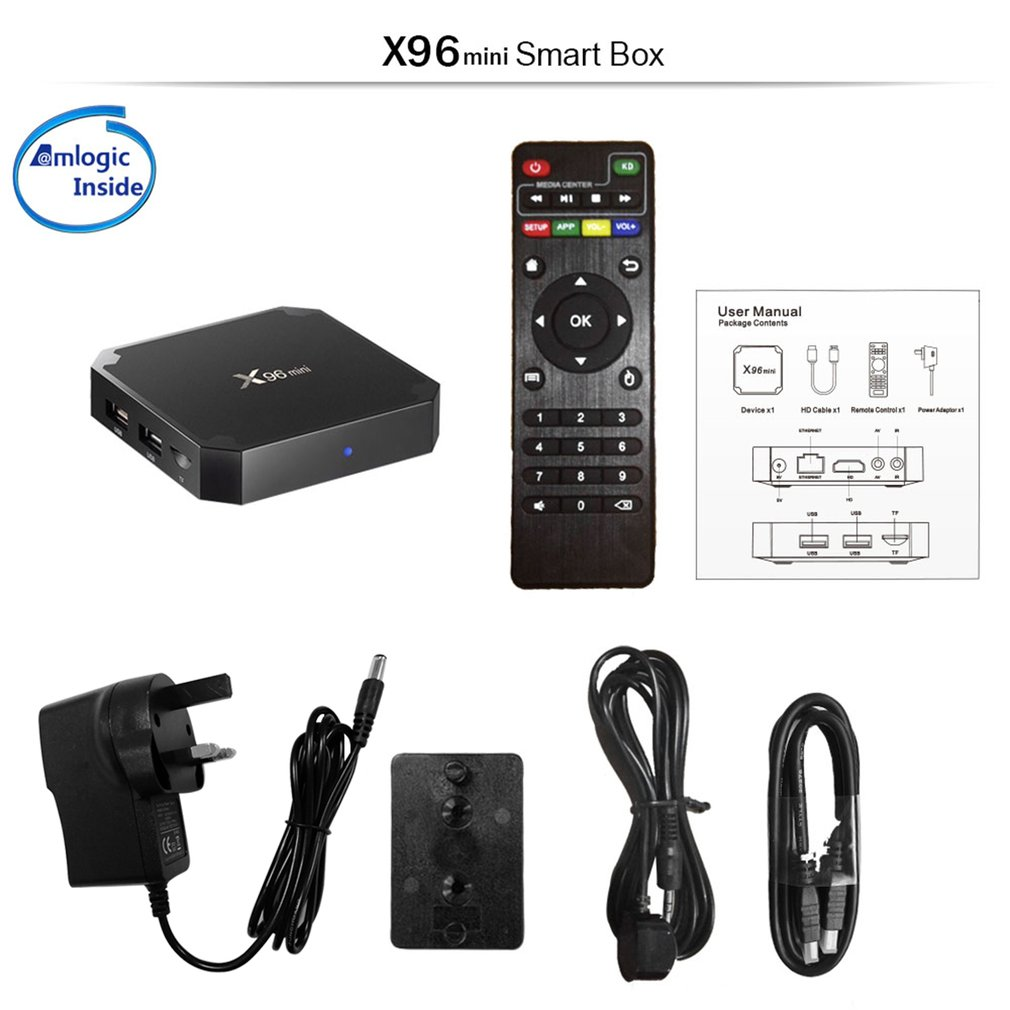 X96 Mini Smart TV Box für Android 7.1 S905W 64bit Quad Core 1 gb DDR3 8 gb EMMC Suppot H.265 4 karat HD 2,4 ghz Wifi TV Box Set Top Box