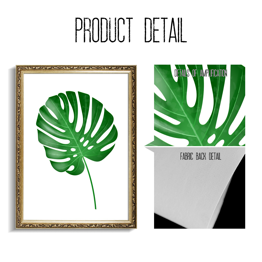 Green Big Palm Leaf Monstera Banana Leaf Wall Art Print Canvas Painting Nordic Posters And Prints Wall Pictures For Living Room in Painting Calligraphy from Home Garden