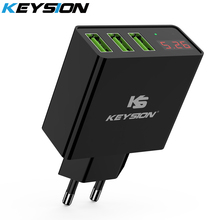 KEYSION LED Digital 3 Ports USB Charger Universal Wall Mobile Phone Charger For iPhone XS MAX XR X 8 7 For Samsung S8 S9 Adapter