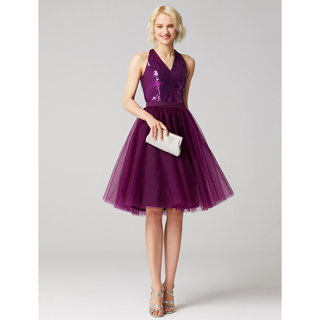 08cf1ad77f8 TS Couture A-Line V Neck Knee Length Tulle Sequined Cocktail Party Dress  with Sequin Sash   Ribbon