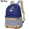 Xqxa moda lona sacos de escola para adolescentes meninas e menino listrado impressão mochila escolar saco ocasional mochila escolar para as mulheres