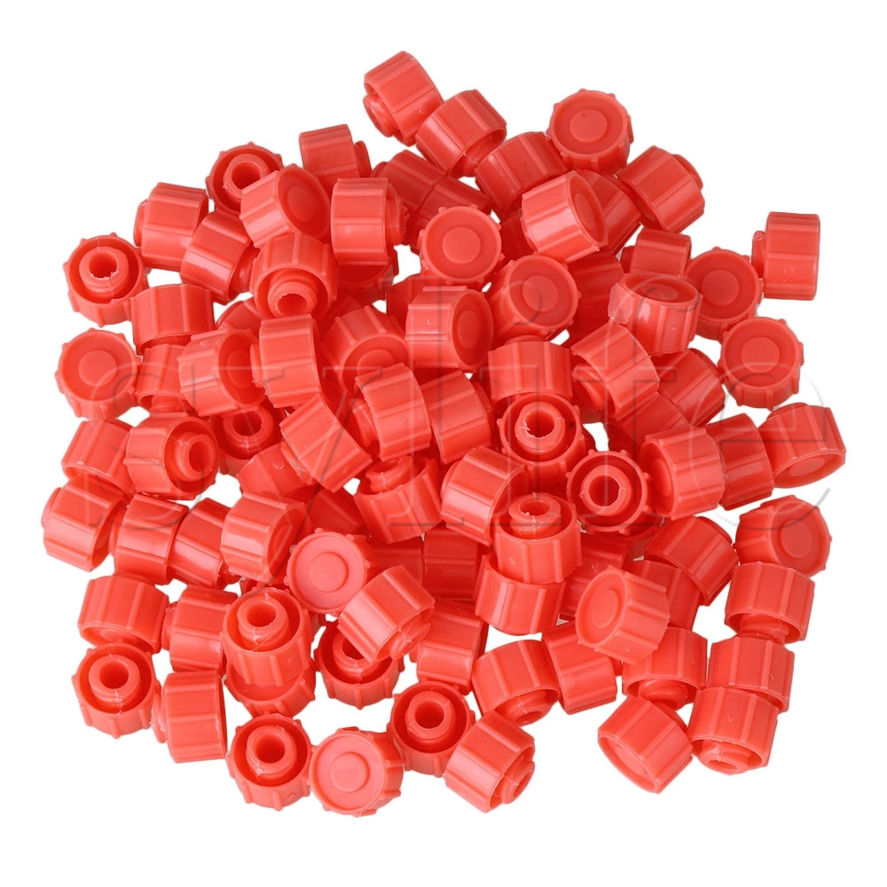 100pcs Plastic Round Dispensing Industrial Syringe Tip Caps Watermelon Red