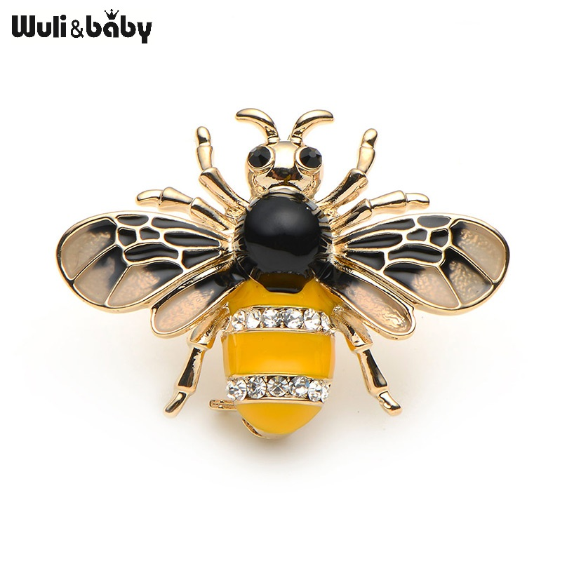 Wuli&baby Insect Bee Brooches Pines Metalicos Enamel Pins Metal Insect Brooche Banquet Broche Gift Hat Scarf Collar Cuff Pins