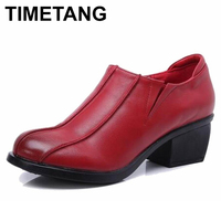 TIMETANG Retro Style Shoes Women Chunky Heels Pumps Round Toe High Heels Genuine Leather
