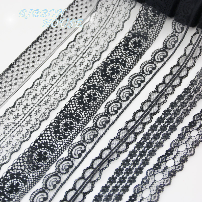 (5 Yards/roll) Black Lace Fabric Webbing Decoration Lovely Gift Packing Material