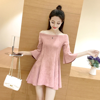 2017 Spring Autumn Korean version Slim Was thin pink black gray Suede dress slash neck cute flare sleeve solid girl woman dress
