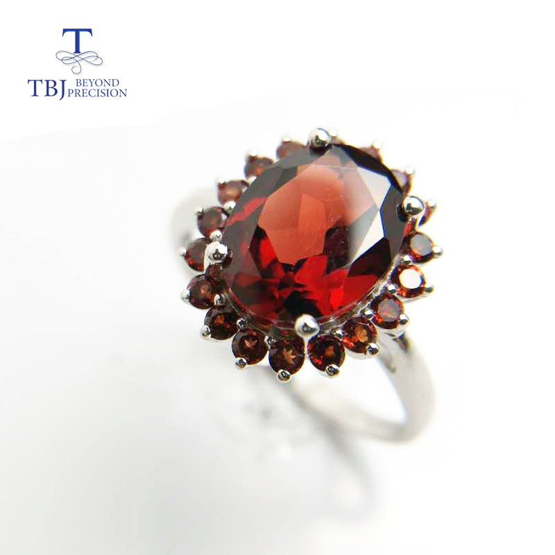 Tbj,Natural 3ct garnet oval cut8*10mm gemstone ring with natural garnet side stone in 925 sterling semi-precious gemstone ring