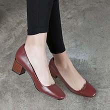 2017 Krazing olla de mujer de marca zapatos de moda de cuero genuino dedo del pie cuadrado colores desnuda gruesa tacones altos resbalón en la oficina de señora zapatos L88