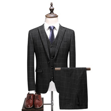 (Jacket+Vest+Pants) 2018 New British style suits casual Plaid male high quality mens Wedding Groom business party