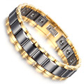 "Mens Tungsten Bracelet, Black & Gold Color Magnets Jewelry 8"" KB1529"