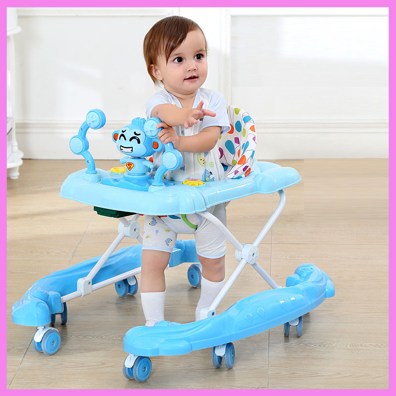 Infant Child Baby Walker with PU Mute Wheels Learning Walker Anti Rollover Multi-function with Music Foldable Walking Assistant 1toy monster high