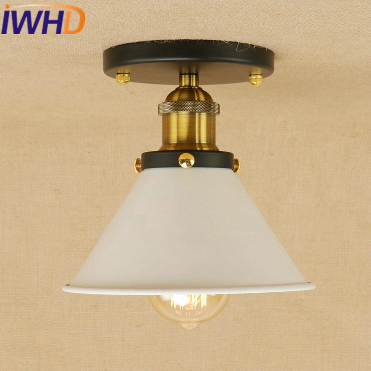 IWHD Iron LED Ceiling Lamps Kitchen Bedroom Ceiling Lights For Living Room Lamparas de Techo Vintage Lighting Fixtures noosion modern led ceiling lamp for bedroom room black and white color with crystal plafon techo iluminacion lustre de plafond