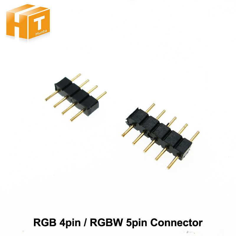 4 broches RGB/5 broches RGBW connecteur adaptateur 4 broches/5 broches aiguille pour RGB/RGBW 5050 3528 LED bande lumineuse 10 Pcs/Lot