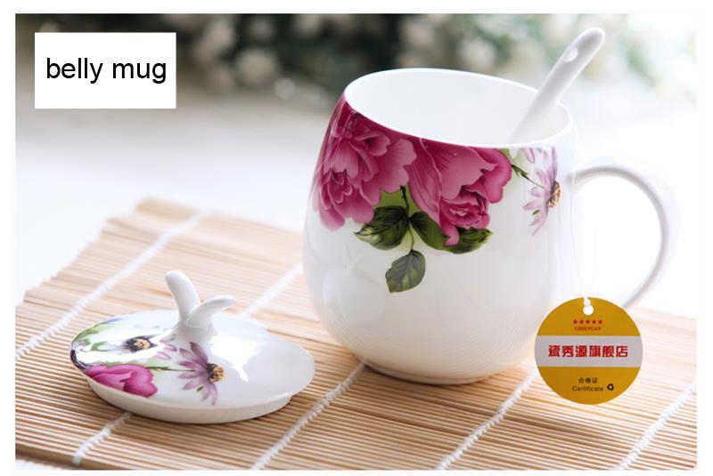 410 ملليلتر ، وارتفع الزهور تصميم لطيف ، العظام الصين الترمس بهلوان القدح ، كوب الشاي لأحد ، كبير القدح ، مع شفة و ملعقة