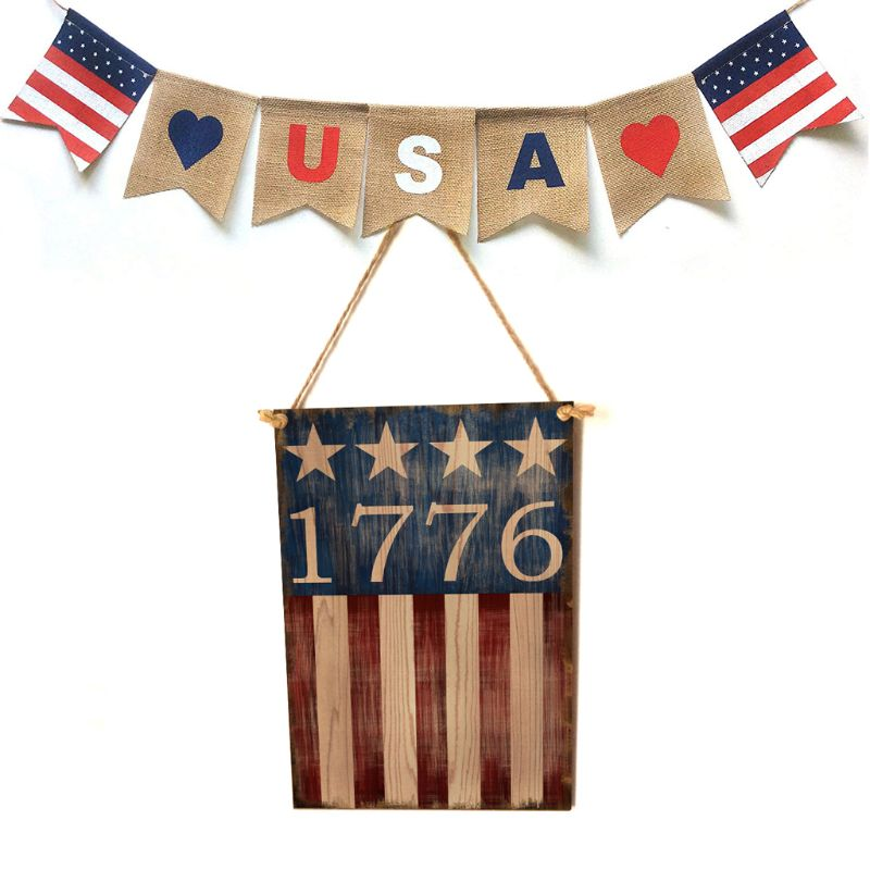 Image 1 - Vintage Wooden Hanging Plaque 1776 Sign Board Wall Door Home Decor Independence Day Party Gift-in Plaques & Signs from Home & Garden