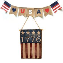 Vintage Wooden Hanging Plaque 1776 Sign Board Wall Door Home Decor Independence Day Party Gift