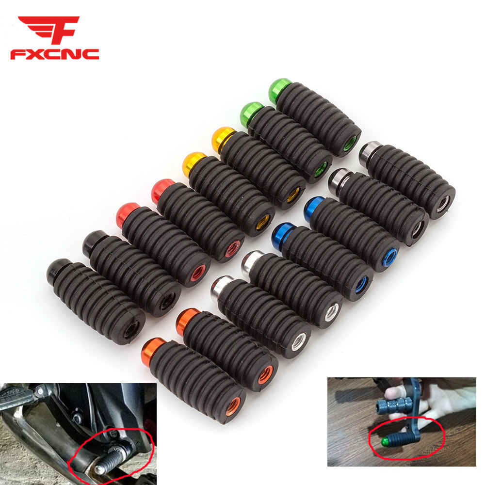 Rubber Aluminum Universal Cnc 5mm Motorcycle Footrests Footpegs Foot Rests Rear Pedals Foot Pegs Motorcycle Accessories Fxcnc Aliexpress