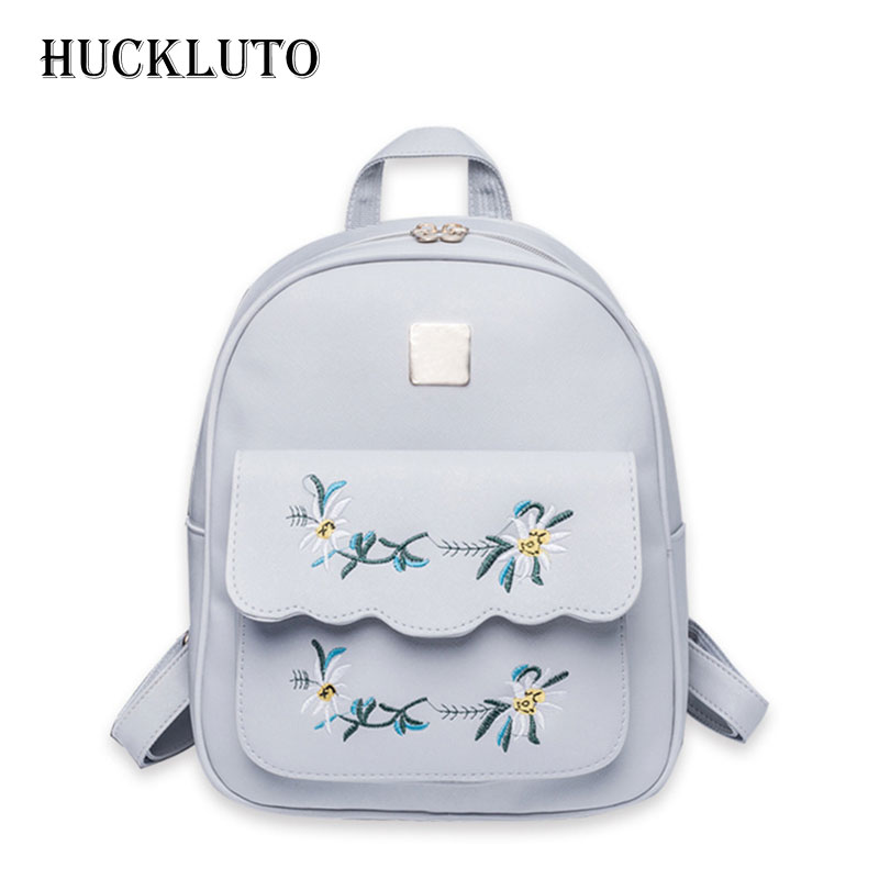 HuckLuto Brand 2019 New Limited Time Discount Korean Fashion Casual Mini Embroidery Portable Schoolbag Leather Womens BackpackHuckLuto Brand 2019 New Limited Time Discount Korean Fashion Casual Mini Embroidery Portable Schoolbag Leather Womens Backpack