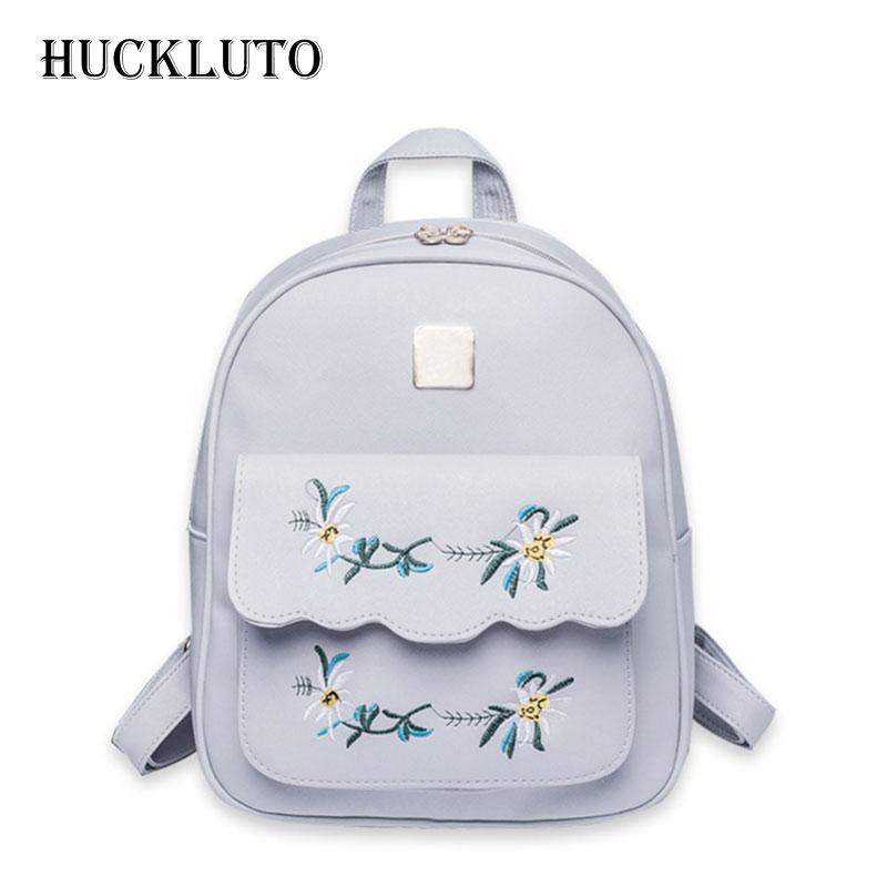 HuckLuto marque 2019 nouvelle réduction limitée de temps mode coréenne décontracté Mini broderie Portable cartable en cuir femmes sac à dos