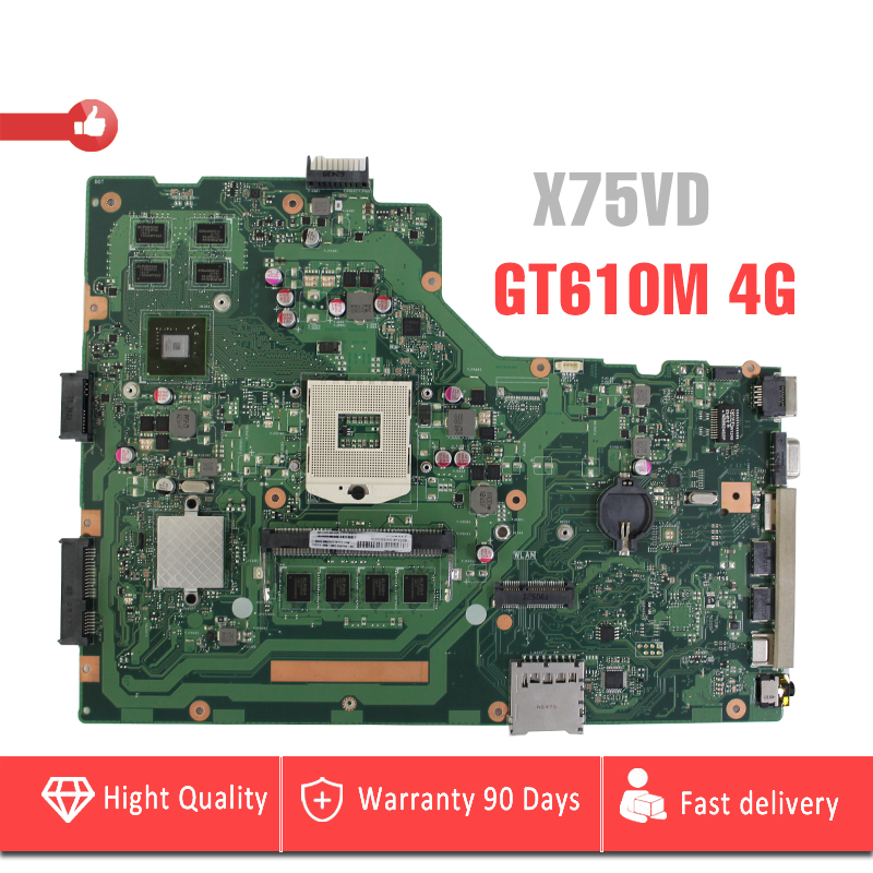 YTAI GT610M 4G For ASUS R704V X75VD Laptop Motherboard HM76 REV2.0 PGA989 DDR3 with GT610M Graphics card 4G RAM Mainboard Tested 683495 001 for hp probook 4540s 4441 laptop motherboard pga989 hm76 ddr3 tested working