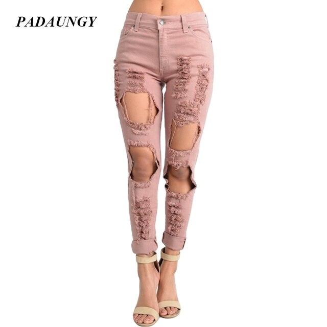 50f39de39b PADAUNGY Pink Ripped Jeans For Women Straight Pants Torn Night Clubwear  Boyfriend Denim Trousers Plus Size High Waist Jeggings