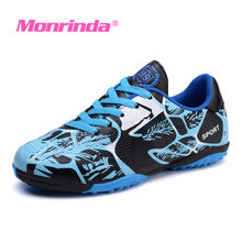Monrinda Men Soccer Shoes Cleats Football Long Spikes Kids Superfly Blue chuteira futebol Trainers Women Sport Sneakers 44