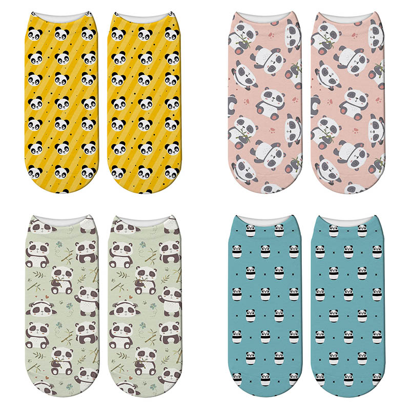 Hot Sale Cute Panda Socks Funny 3D Printed Sock Women Harajuku Panda Ankle Length Cotton Soft Casual Charactor Sock