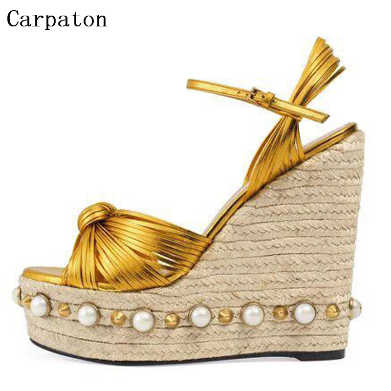 Summer New Arrival Ankle Buckle Strap Rope Weave Wedges Sandals Women Open Toe High Platform Party Shoes Sweet Style karinluna popular women sandals ankle strap buckle small bowtie crystal bordered wedges open toe platform party shoes for women