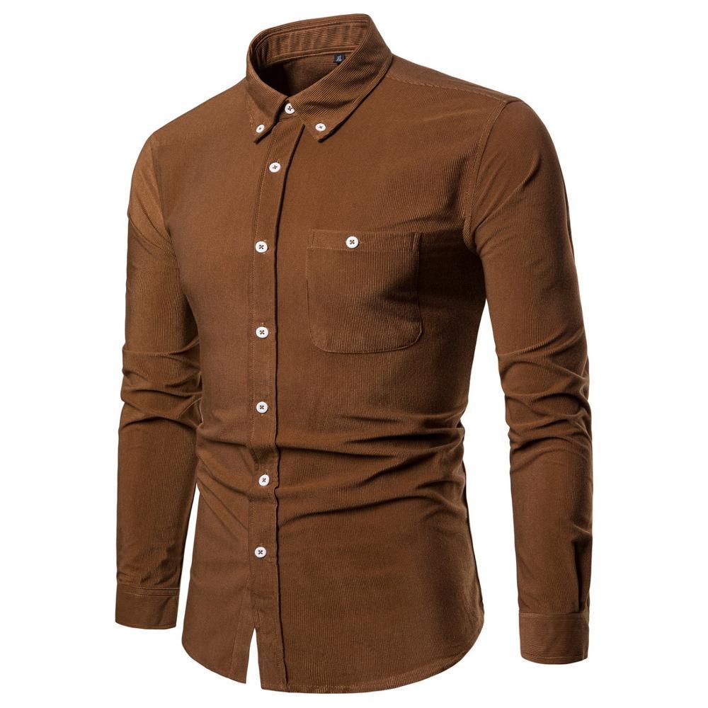 Men's Corduroy Shirt Camisa Social Shirts Men Dress Long Sleeve Mens Shirts Casual Slim Fit Brown Shirt Plus Size Men Shirt