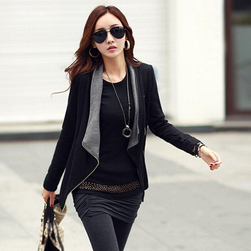 2018 femmes printemps veste femme vêtements femmes manteaux et vestes hiver noir zipper à manches longues Manche Longue chaud Slae B883
