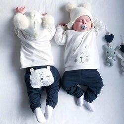 Одежда для новорожденных мальчиков, теплые зимние топы с медведем, футболка, штаны, комплекты одежды, комплект одежды