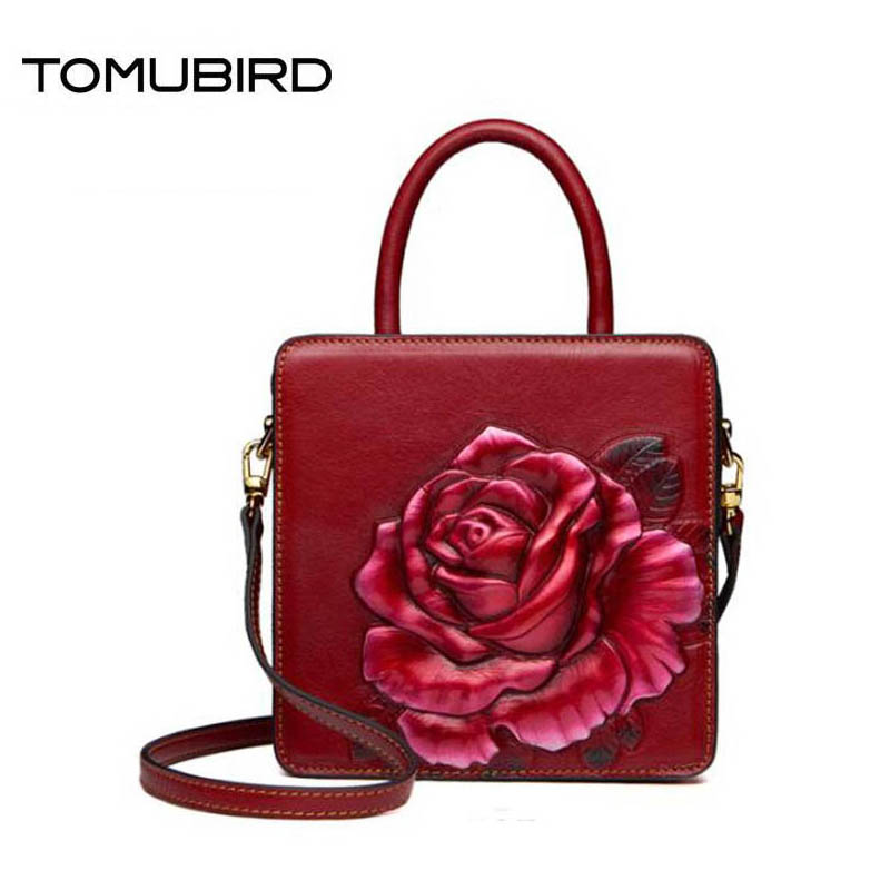 TOMUBIRD 2018 new top cowhide Painted embossing fashion leather art bag luxury women genuine leather bag designer handbags 2018 new superior cowhide leather classic designer hand embossing top leather tote women handbags genuine leather bag medium bag