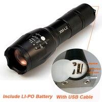 2017 Newest USB Flashlight 8000 Lumens Flash Light LED CREE XM L T6 Torch Zoomable Flashlight